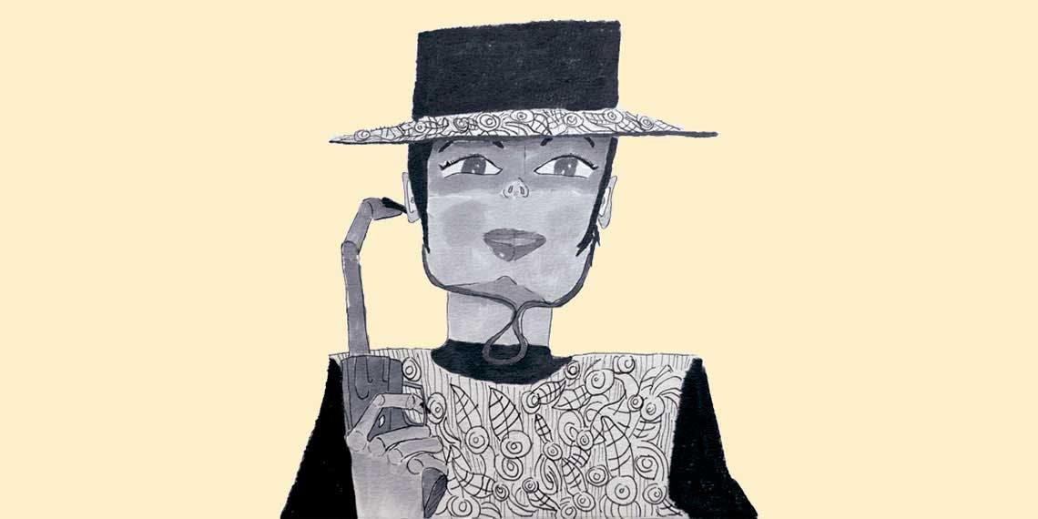 Garitma, hombre con sombrero y arma en la mano, dibujo marcador sobre papel