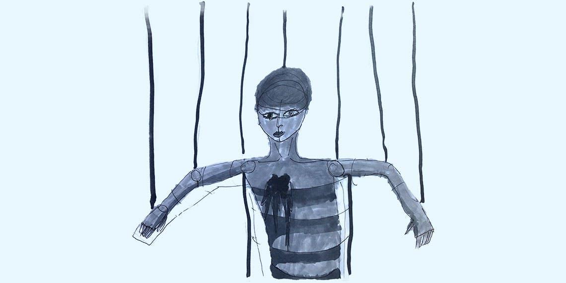 Garitma, marioneta, dibujo marcador sobre papel