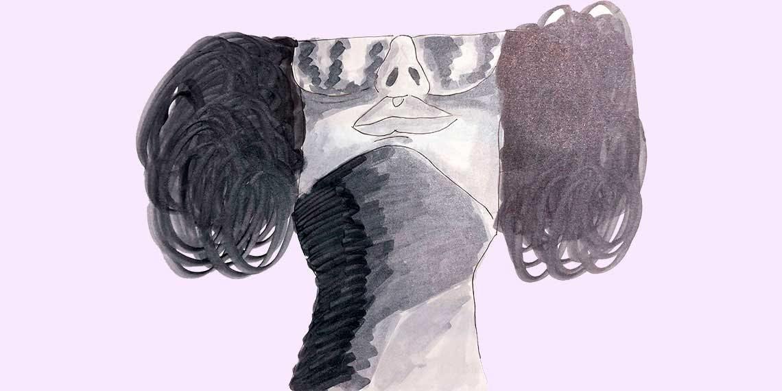 Garitma, mujer con gafas y con el cuello cubierto, dibujo marcador sobre papel