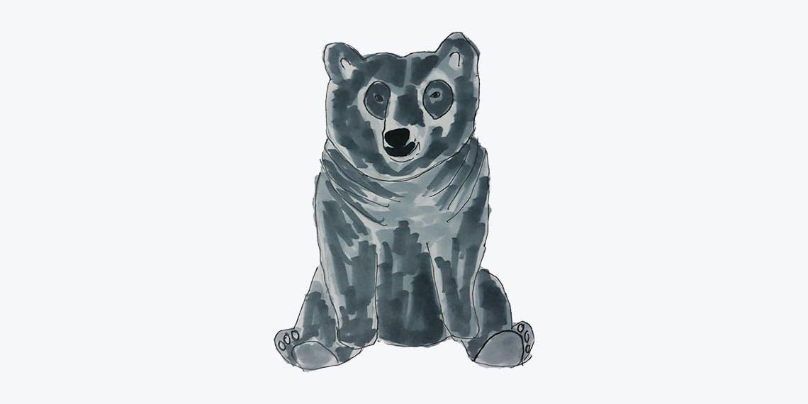 Garitma, oso sentado, dibujo marcador sobre papel