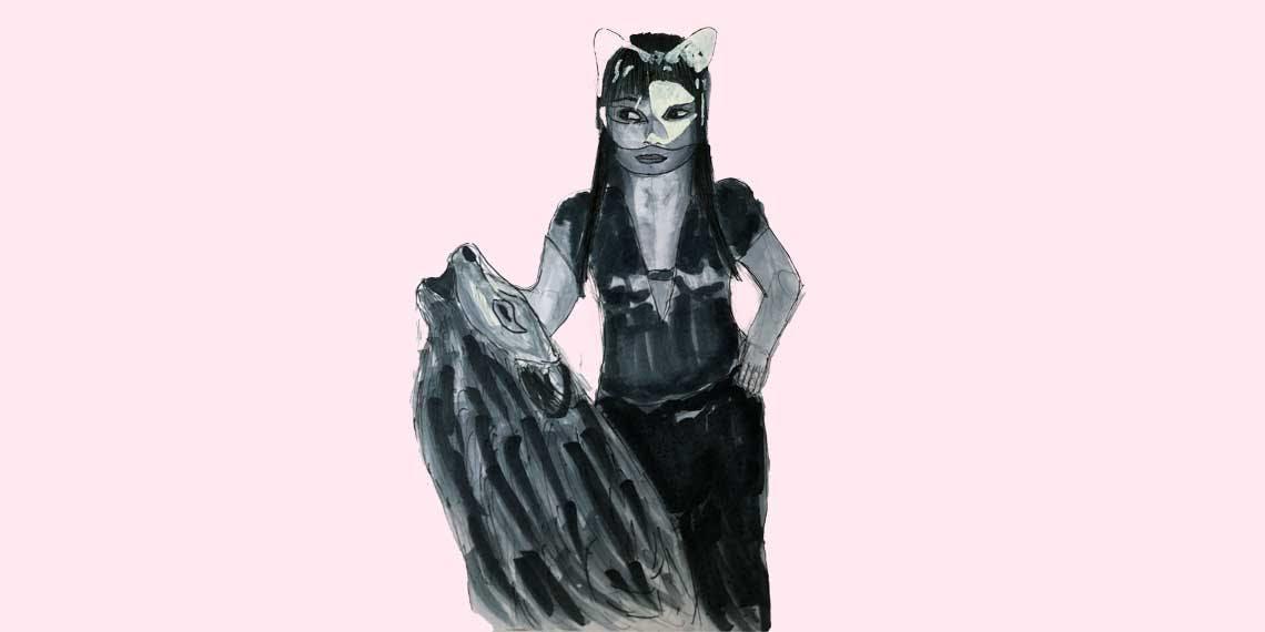 Garitma, mujer con lobo, dibujo marcador sobre papel