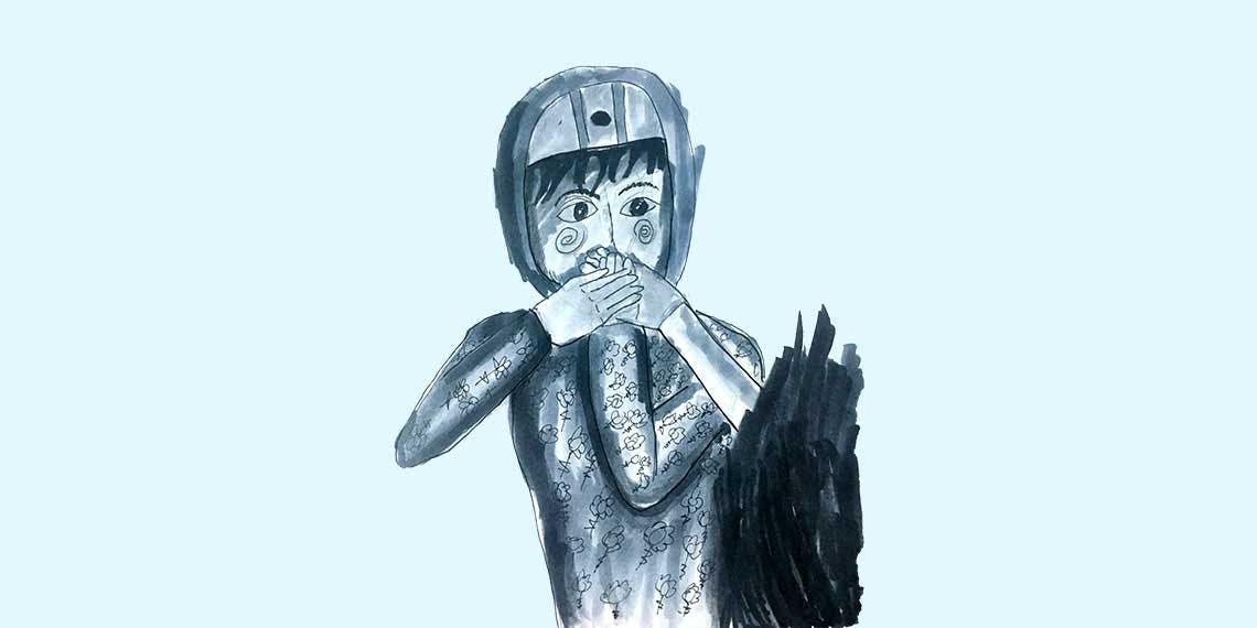 Garitma, tapando la boca con tres manos, dibujo marcador sobre papel