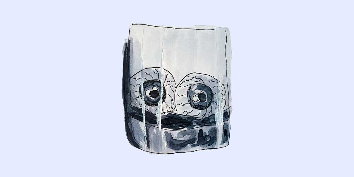 Garitma, ojos dentro de un vaso de vidrio, dibujo marcador sobre papel