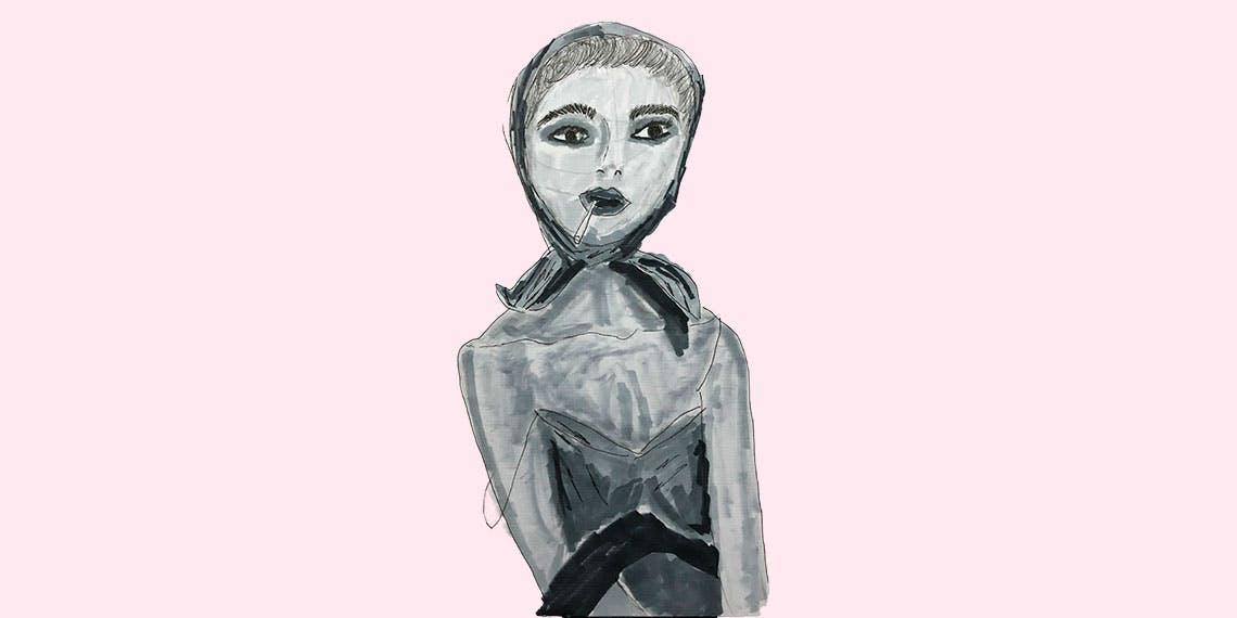 Garitma, mujer con pañoleta fumando, dibujo marcador sobre papel