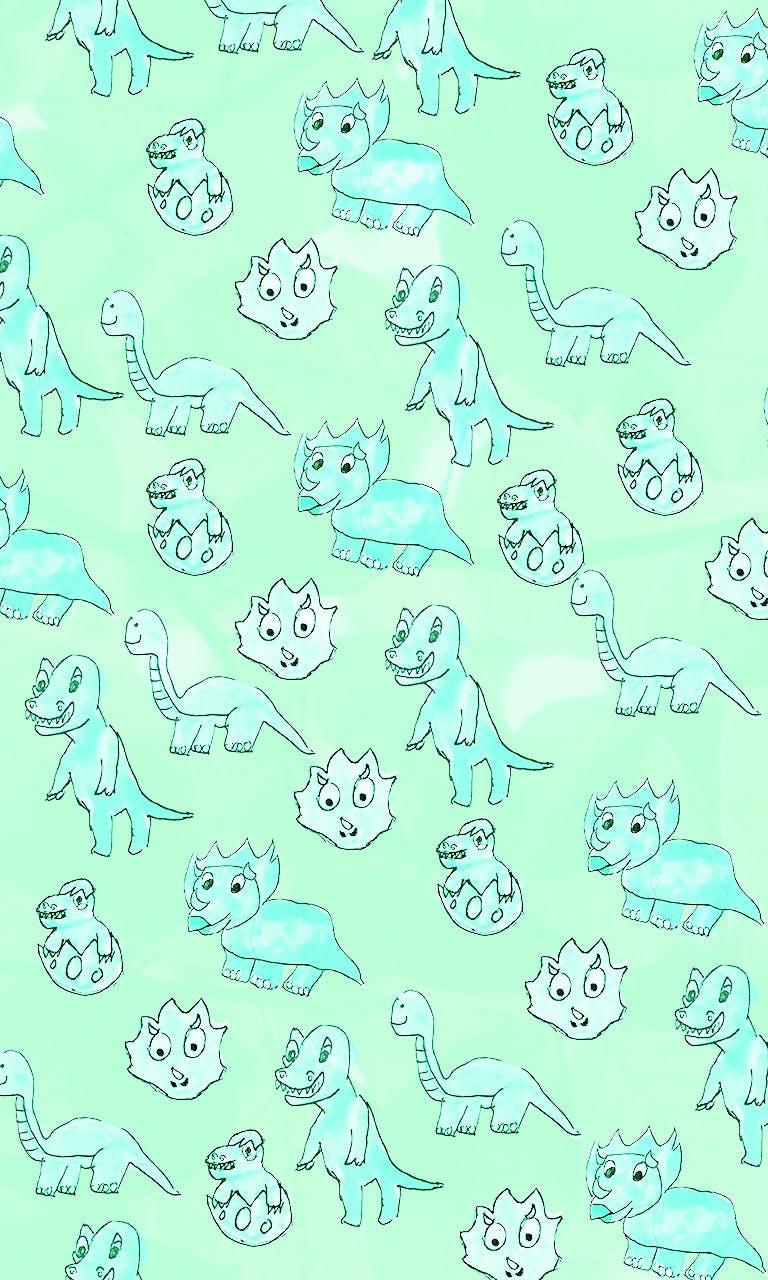 Garitma, fondo de pantalla para celular patrón de dinosaurios, dibujo marcador sobre papel