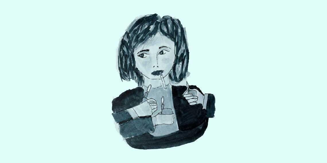 Garitma, mujer fumando con varias candelas en frente, dibujo marcador sobre papel
