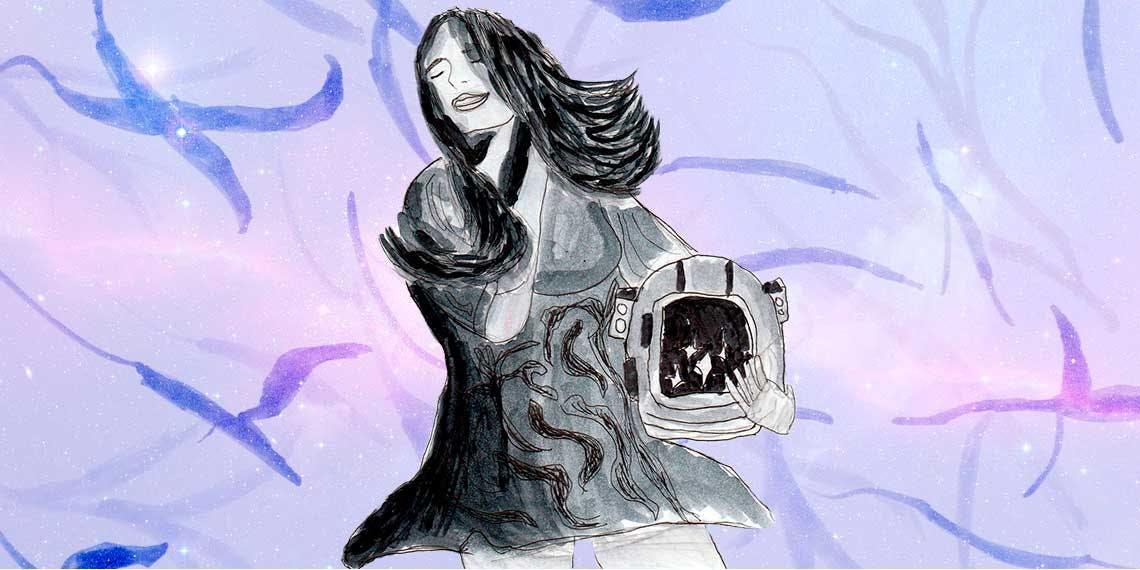 Garitma, mujer sosteniendo un casco de astronauta, dibujo marcador sobre papel