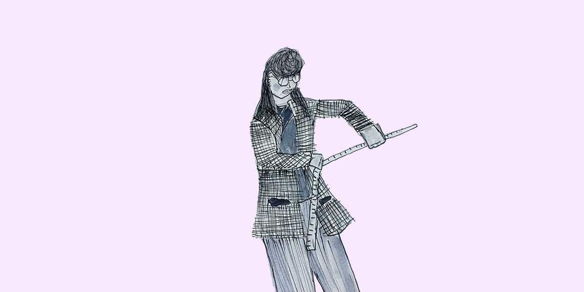 Garitma, mujer midiendo con regla, dibujo marcador sobre papel