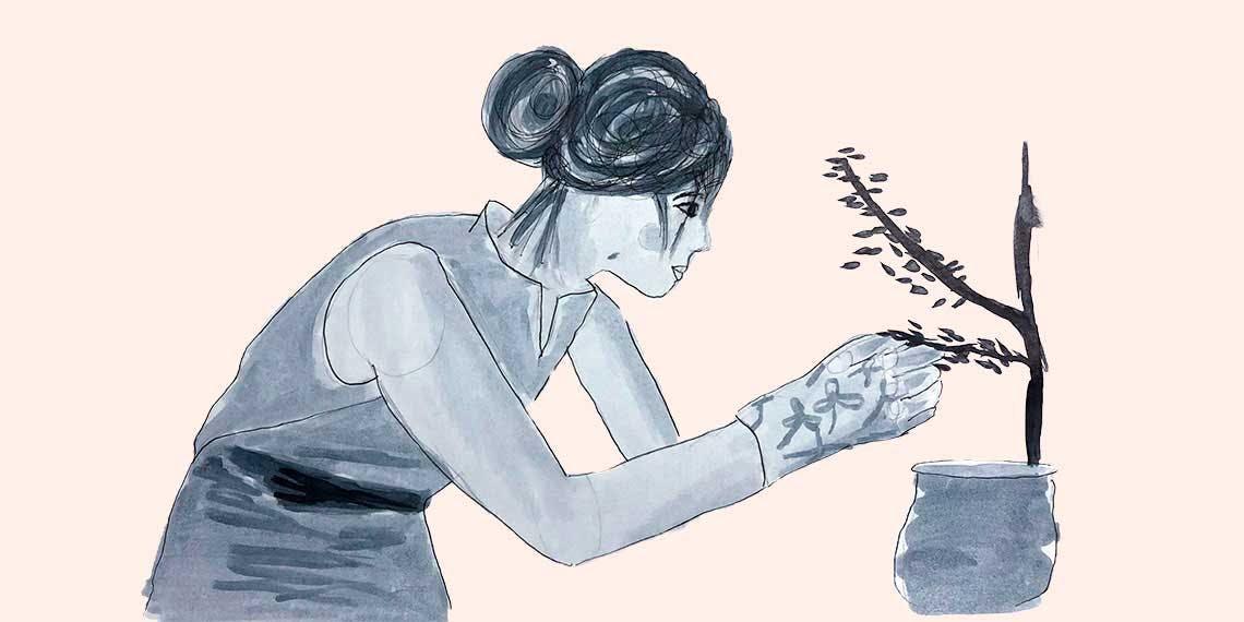 Garitma, mujer haciendo jardinería, dibujo marcador sobre papel