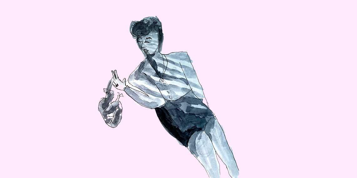 Garitma, mujer lanzando un corazón la suelo, dibujo marcador sobre papel