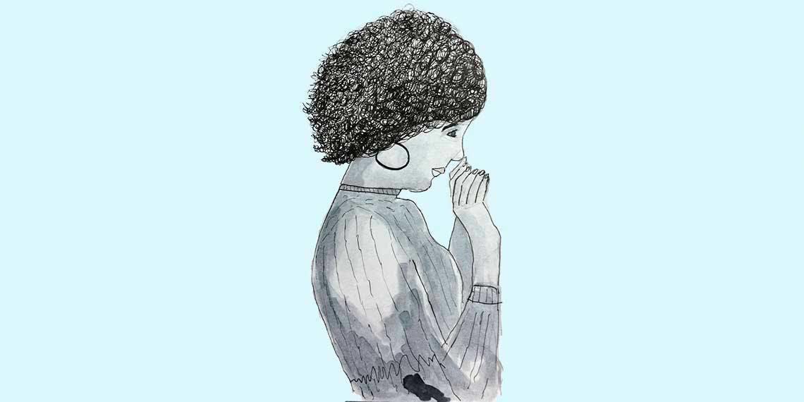 Garitma, mujer con cabello crespo saludando, dibujo marcador sobre papel