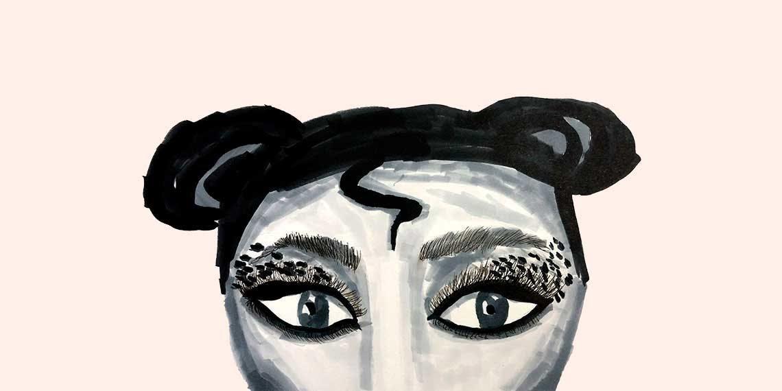 Garitma, cabeza de mujer con maquillaje en los ojos, dibujo marcador sobre papel