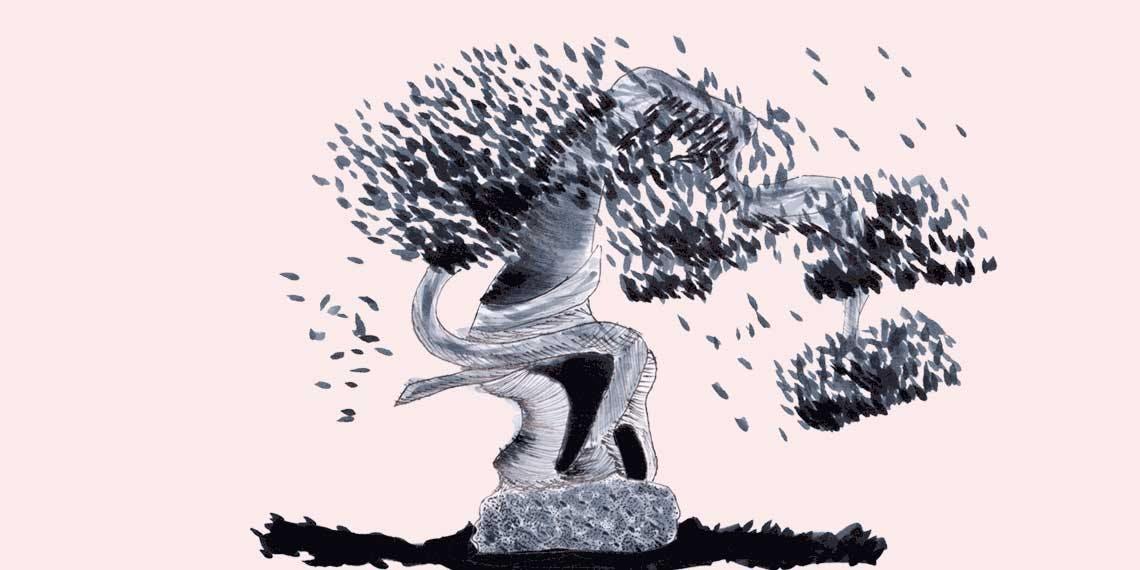 Garitma, árbol en forma de silla, dibujo marcador sobre papel