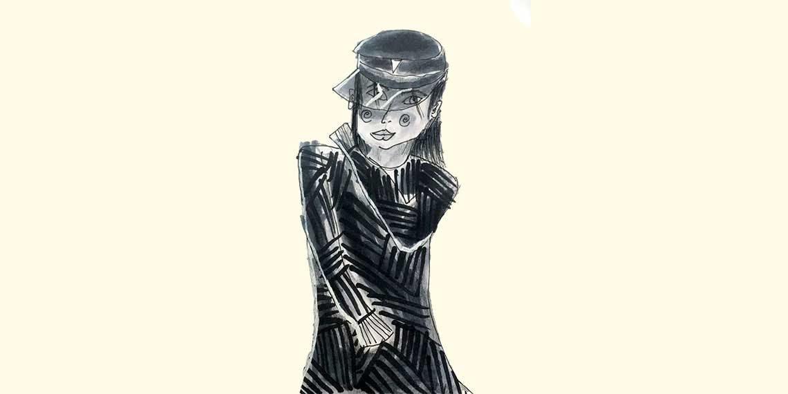 Garitma, mujer posando con gorra y vestido de rayas, dibujo marcador sobre papel
