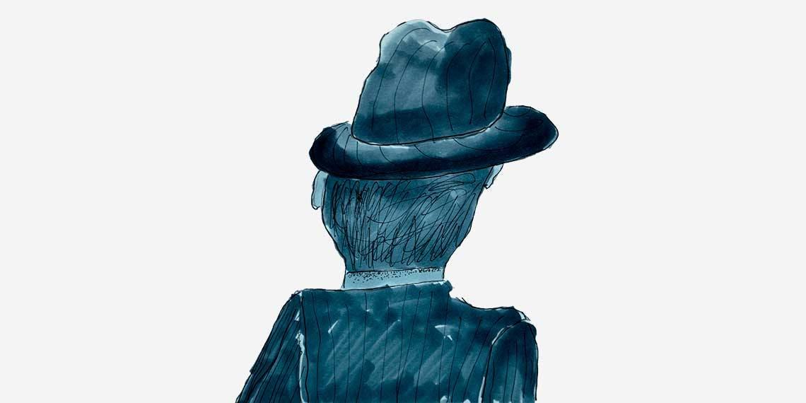 Garitma, hombre con sombrero de espalda, dibujo marcador sobre papel