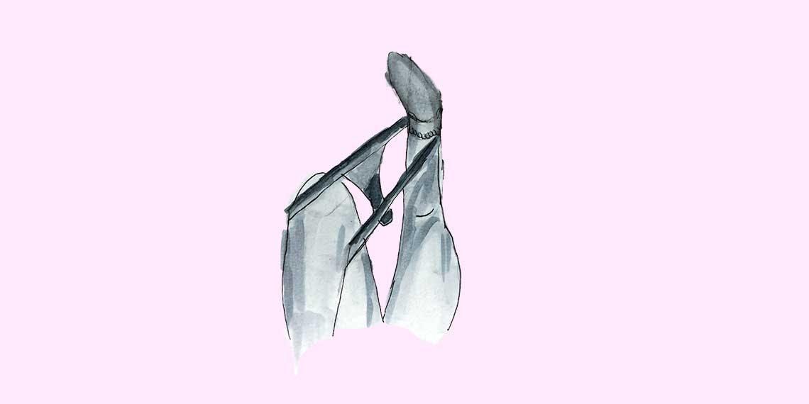 Garitma, Mujer acostada quitandose ropa interior, dibujo marcador en papel