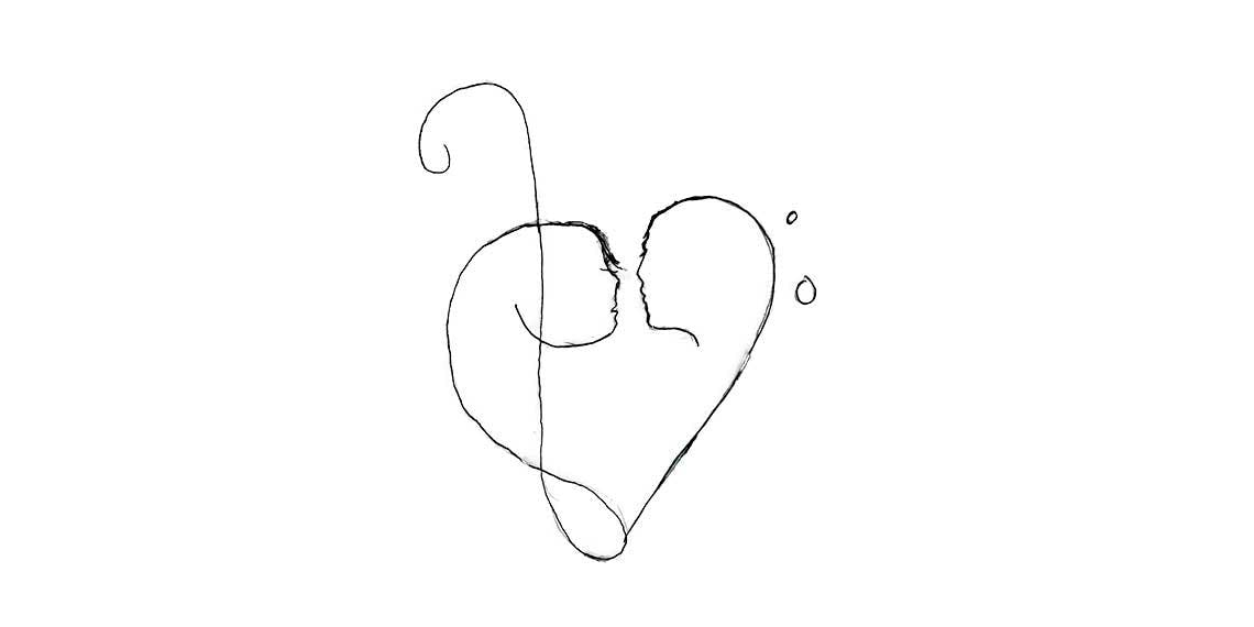 Garitma, corazón formando un beso, dibujo micro punta sobre papel