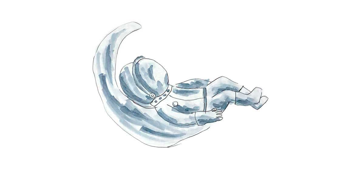 Garitma, astronauta recostado sobre la luna creciente, dibujo marcador sobre papel