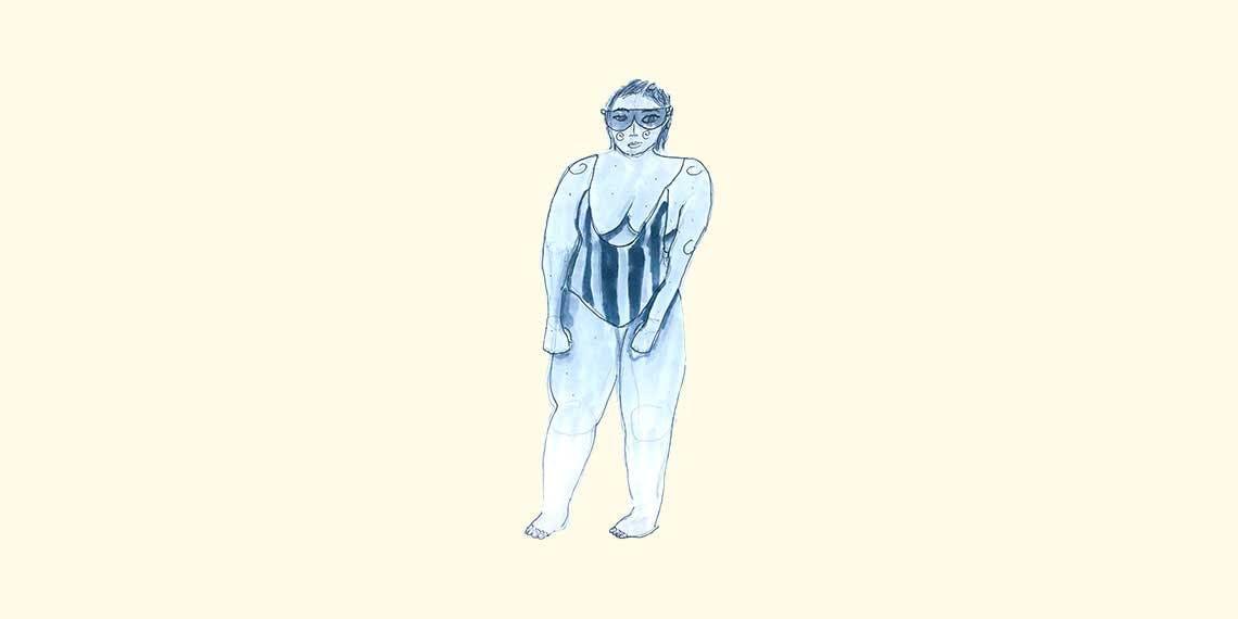 Garitma, mujer en vestido de baño de una pieza y gafas de sol, dibujo marcador sobre papel