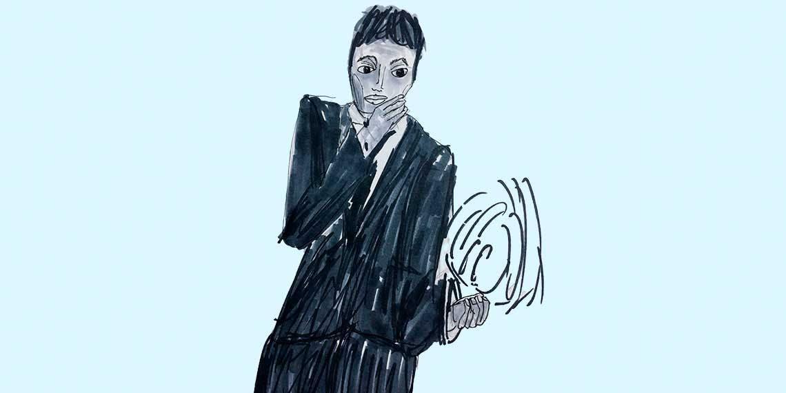 Garitma, hombre con traje, dibujo marcador sobre papel