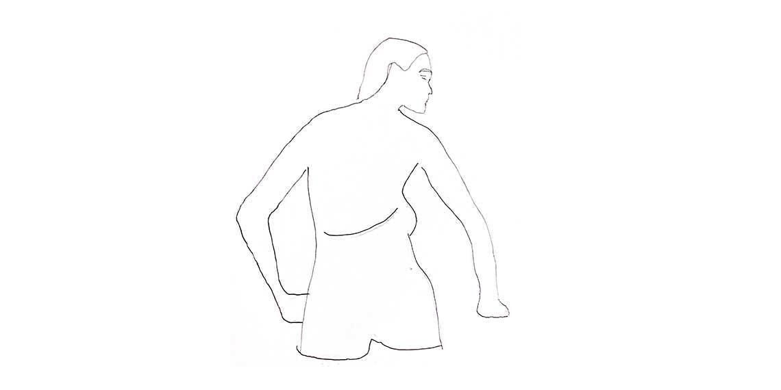 Garitma, mujer de espalda con la espalda semi descubierta minimalista, dibujo micro punta sobre papel