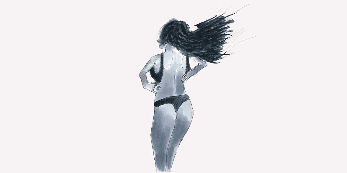 Garitma, mujer quitándose el sostén, dibujo marcador sobre papel