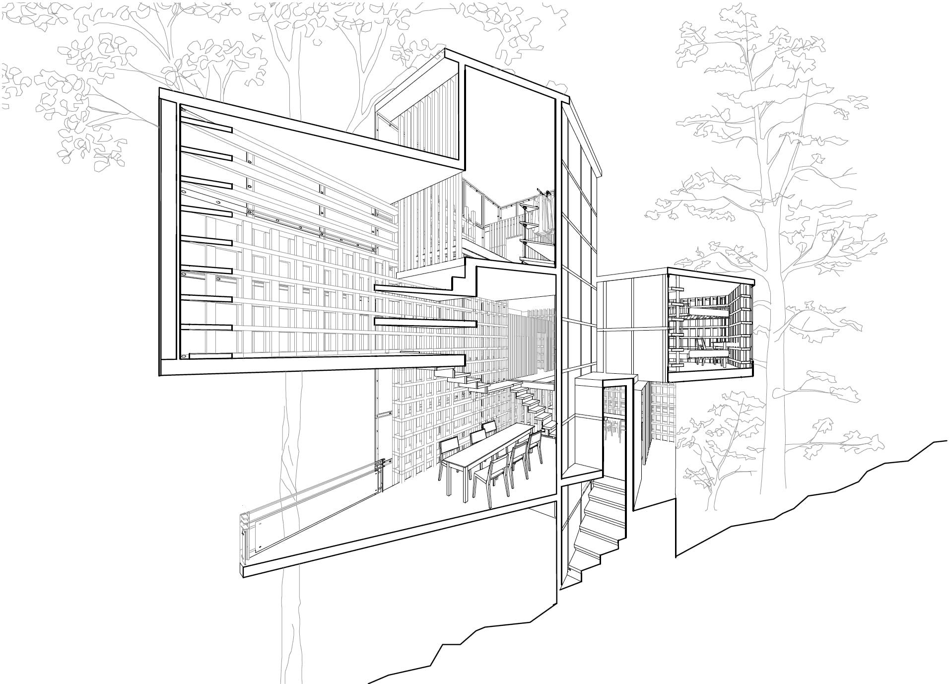 Quick, week-long housing proposals were explored for minimal footprint design.