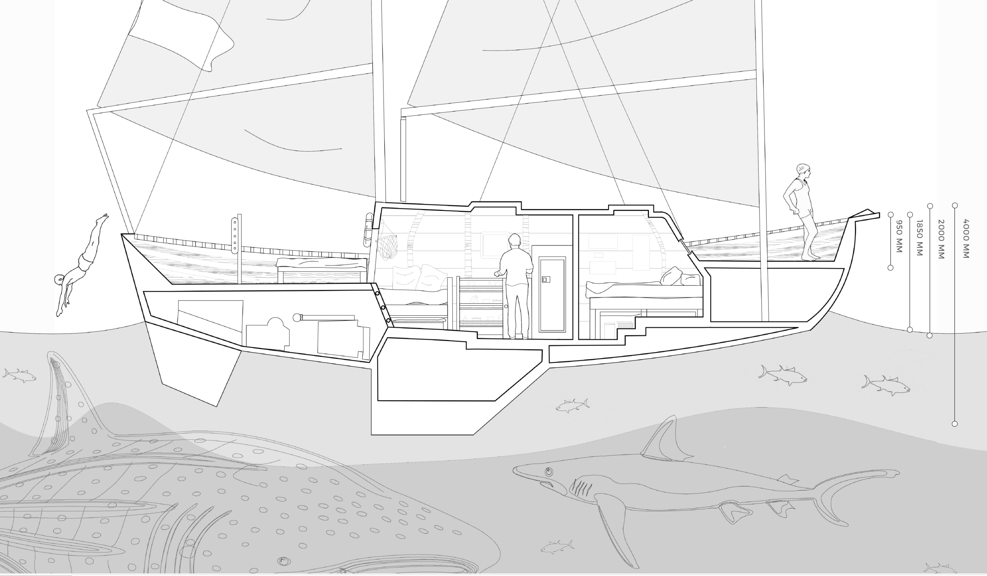 The process work revolved around studying small spaces like house boats. Highly recommend viewing the link above.
