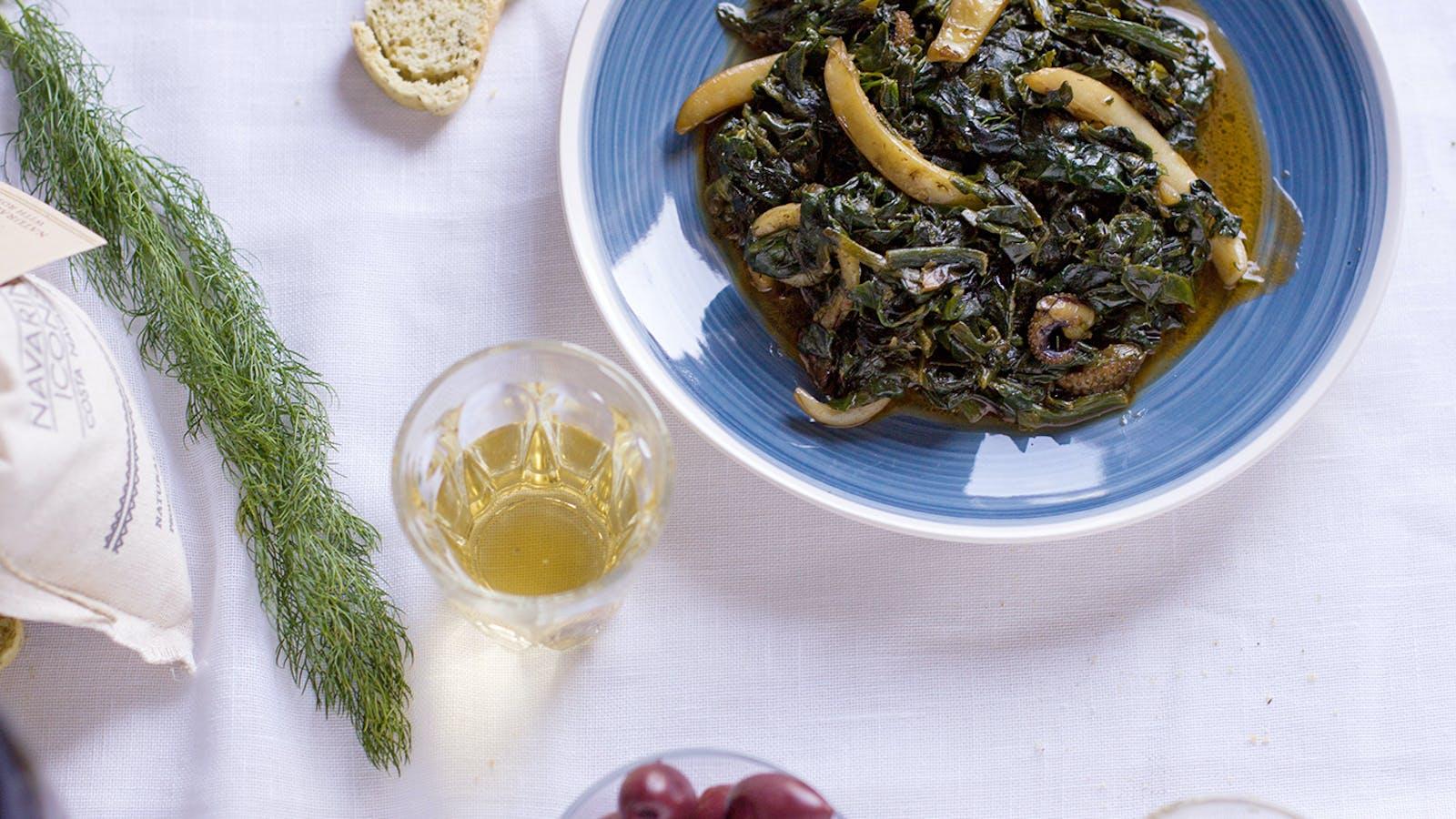 Cuttlefish spinach recipe