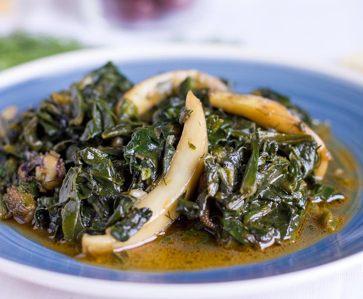 Cuttlefish with spinach in Paros!
