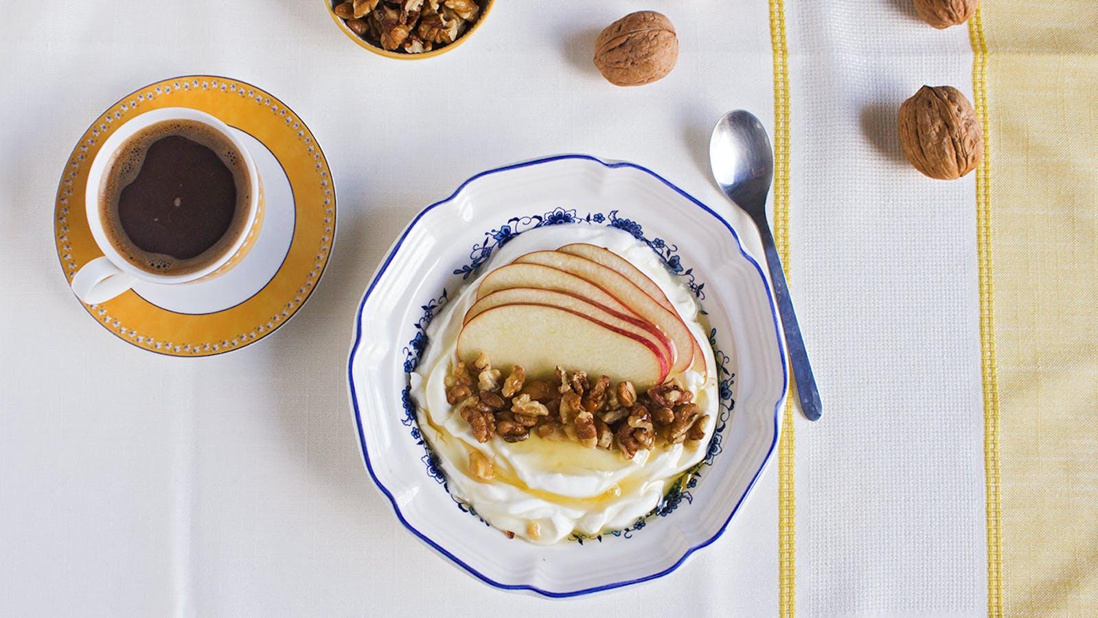 Greek breakfast: yogurt, honey and nuts