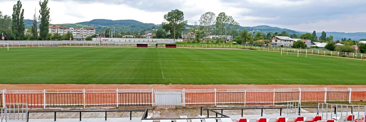 teren de sport pentru fotbal si rugby cu gazon natural verde