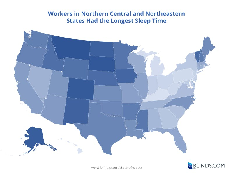 Map showing average hours of sleep for workers by state. Data from CDC.