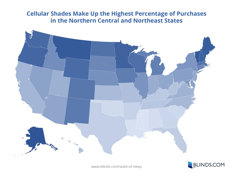 Map showing percentage of cellular shade purchases by state. Data from Blinds.com.