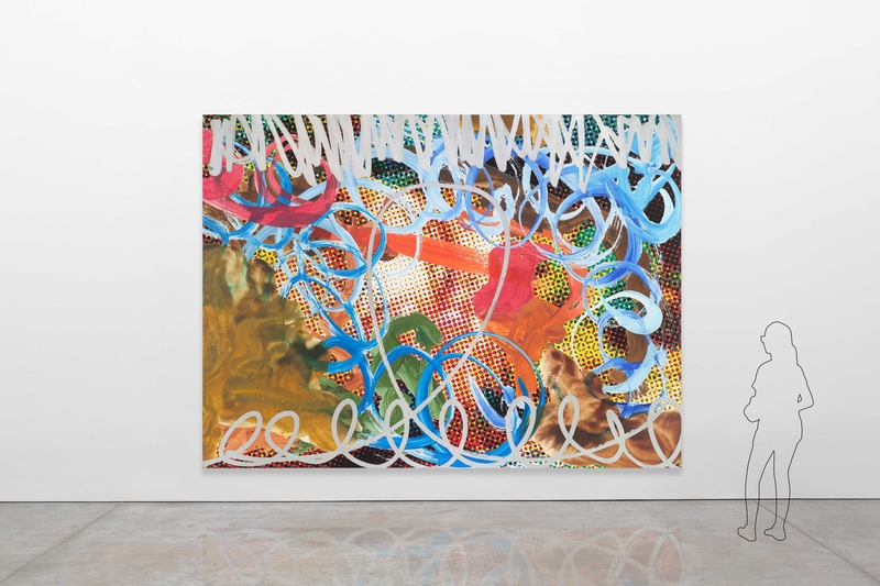 Jeff Koons, Waterfall Couple (Dots) Blue Swish with Red Stroke, 2009