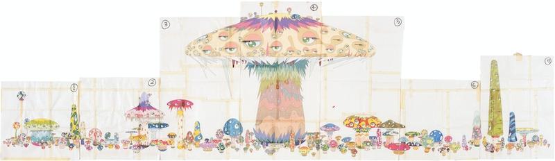 Takashi Murakami, Process Drawing for Super Nova, 1999