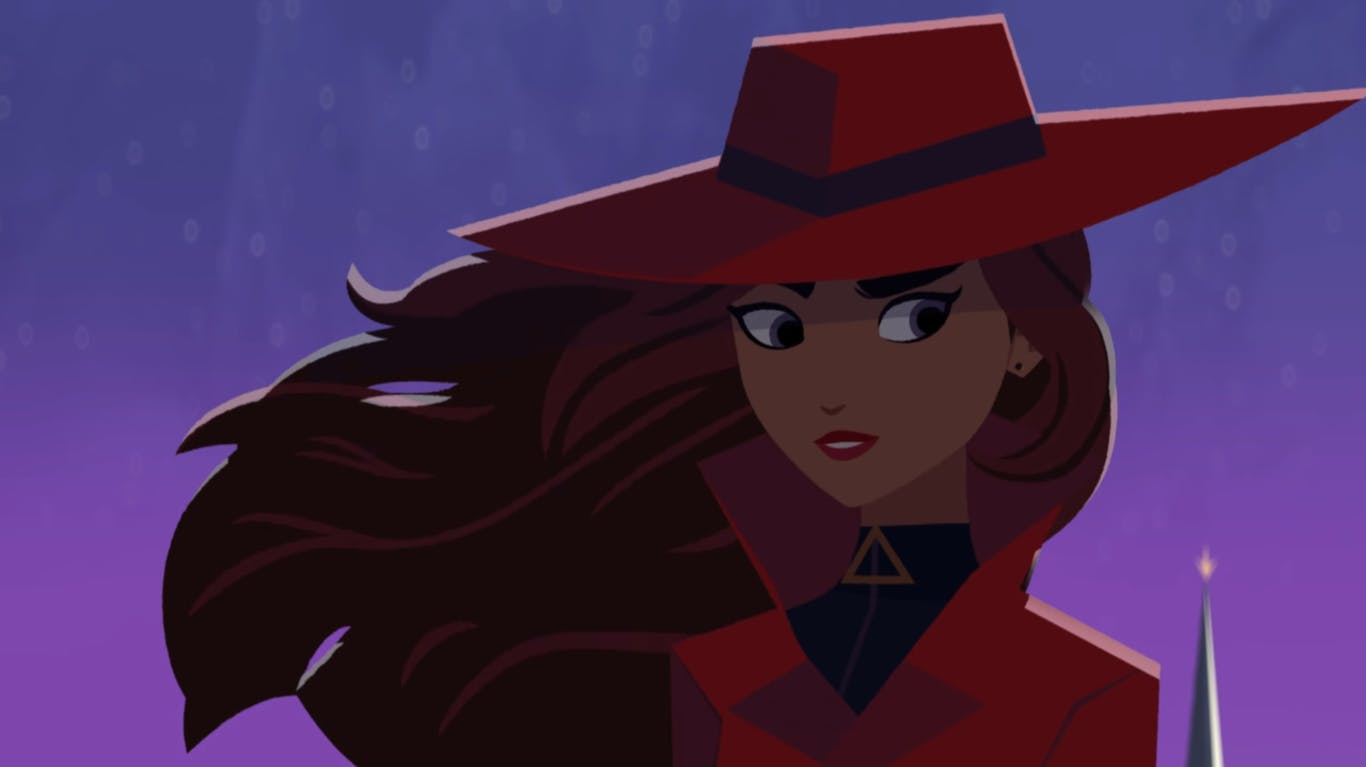 Carmen Sandiego is always decked in a red coat, and a red hat.
