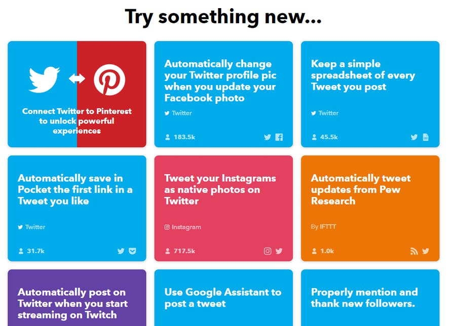 List of applets for Twitter on IFTTT.