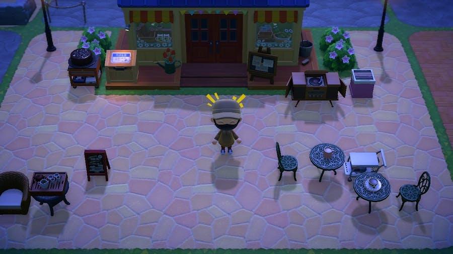 Animal Crossing: New Horizons Nook's Cranny cafe area.