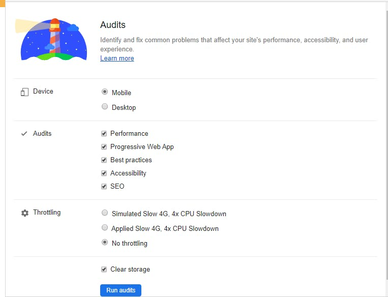 Google's Lighthouse audit options.
