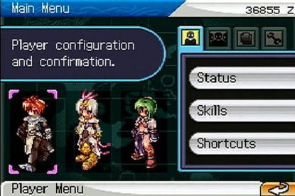 Ragnarok Online Nintendo DS game menu