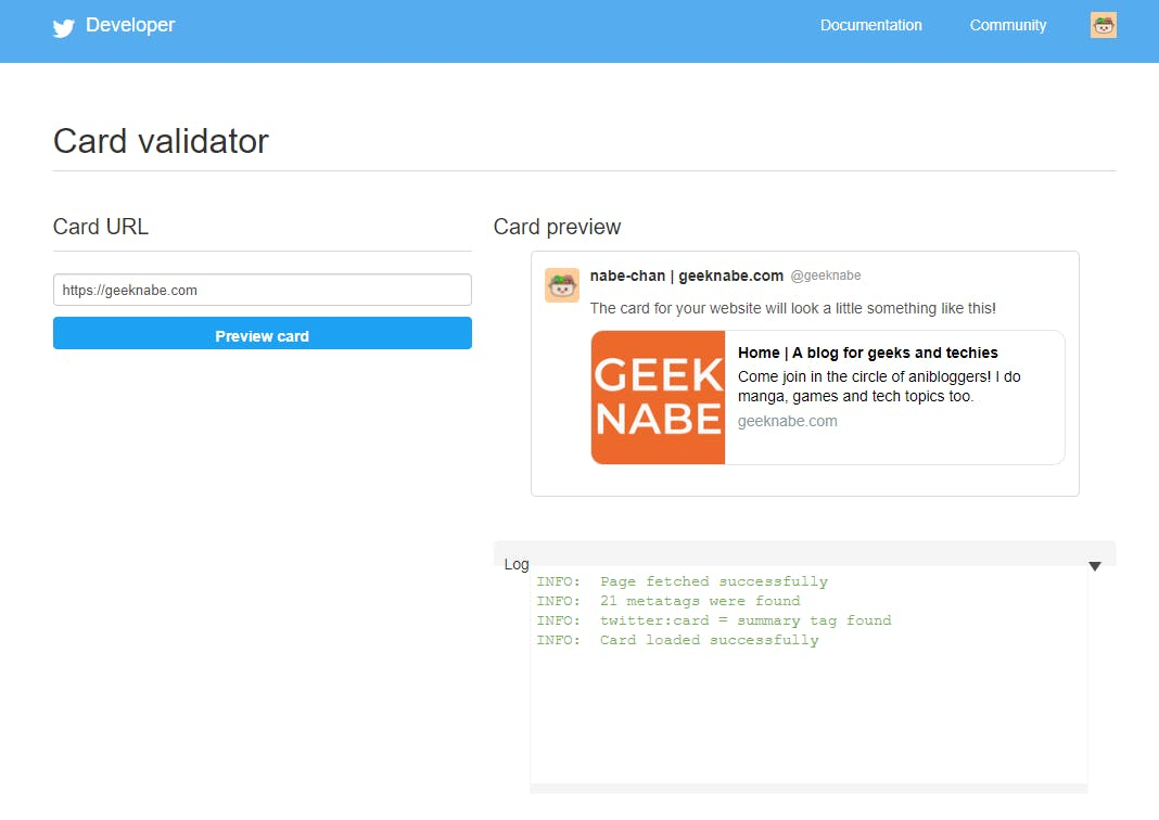 Twitter Card Validator scrapped link example