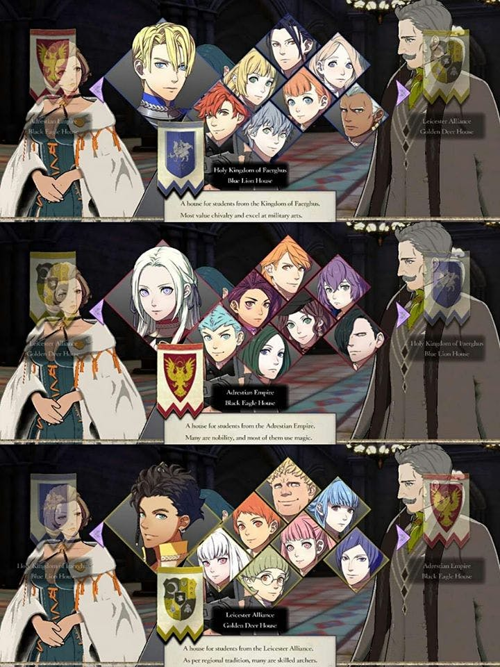 All Fire Emblem houses you can choose!