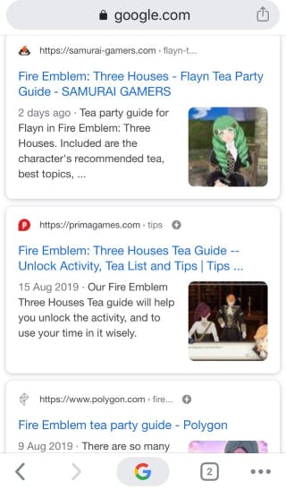 Example of images shown next to Google search result on mobile