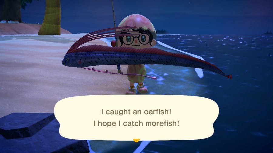 Animal Crossings: New Horizon oarfish catch zoomed in