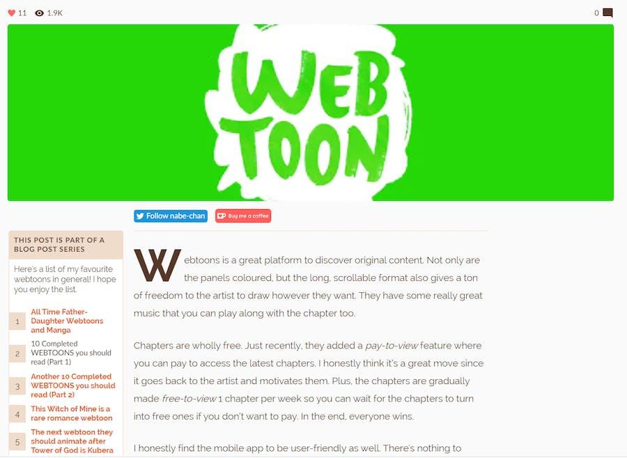 Completed webtoons blog post screencap