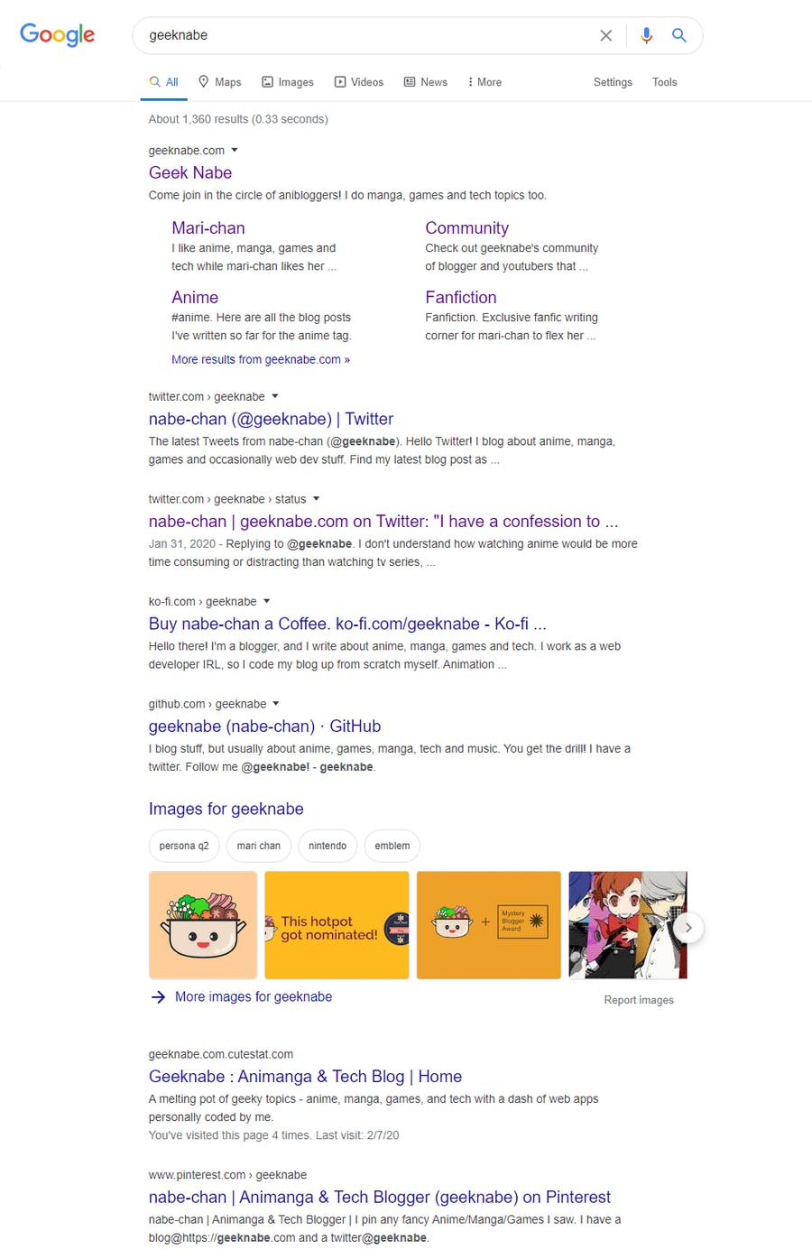 geeknabe's search result on Google
