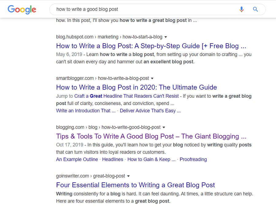 Example of bolded keywords in Google search results