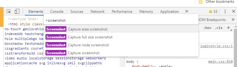 List of options in Chrome's Developer Tools for screen capture.