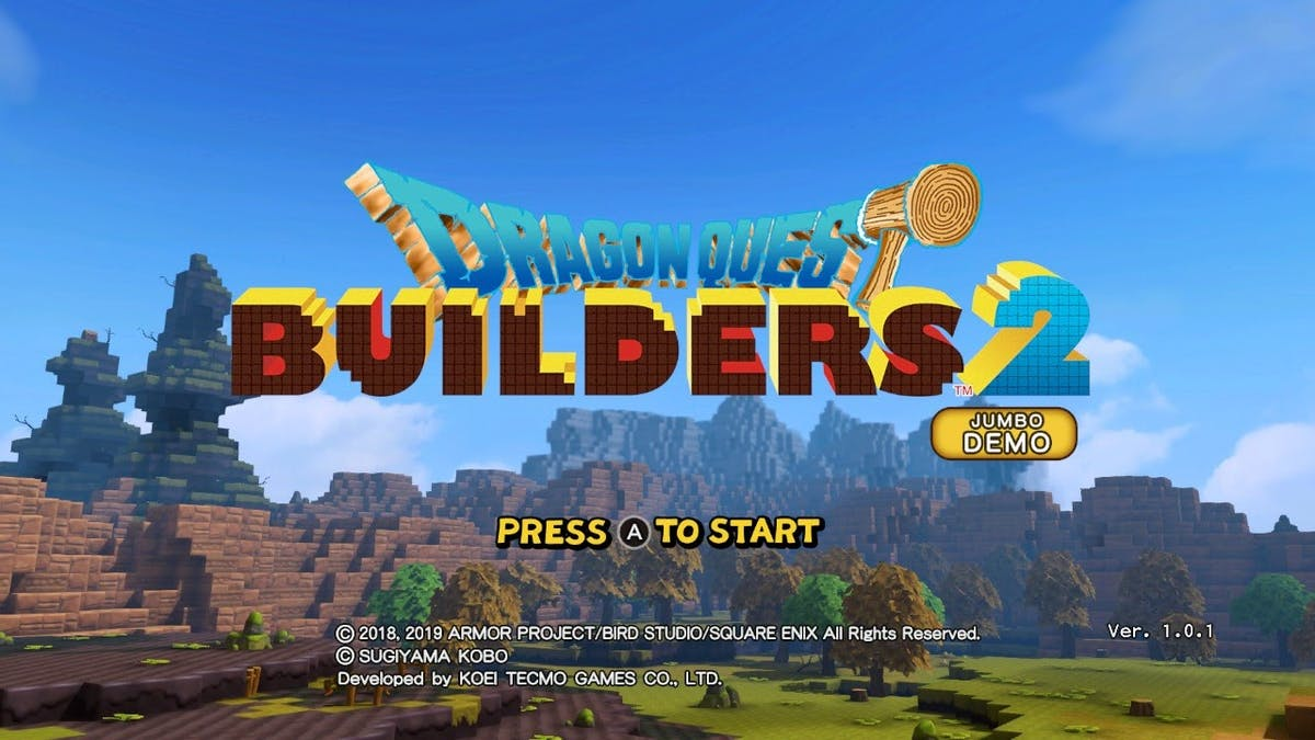 Start menu for Dragon Quest Builders 2 Jumbo Demo. Press A to start <3